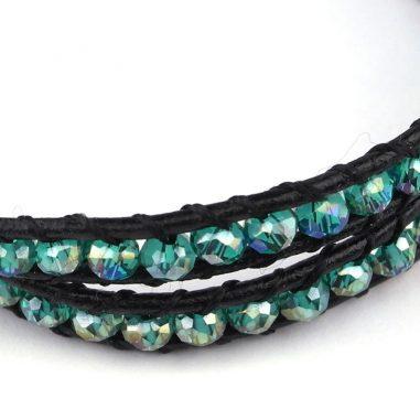 wickelarmband kristalle grün doppelstrang detail glitzer damen leder