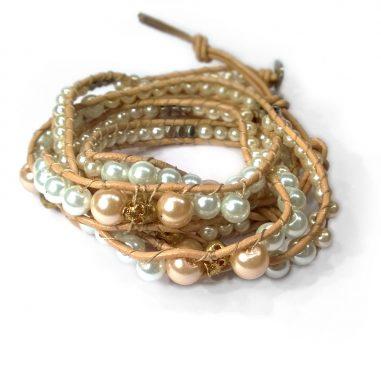 Damen perlen wickelarmband totenkopf gold weiss rose ausgefallen