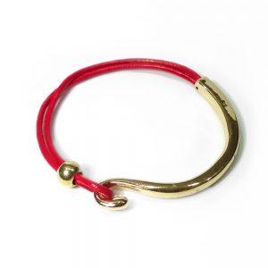 lederarmband rot gold einfach schlicht edel