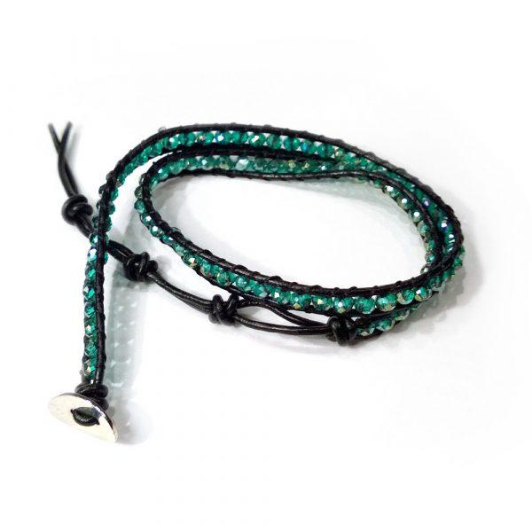 wickelarmband smaragd strass