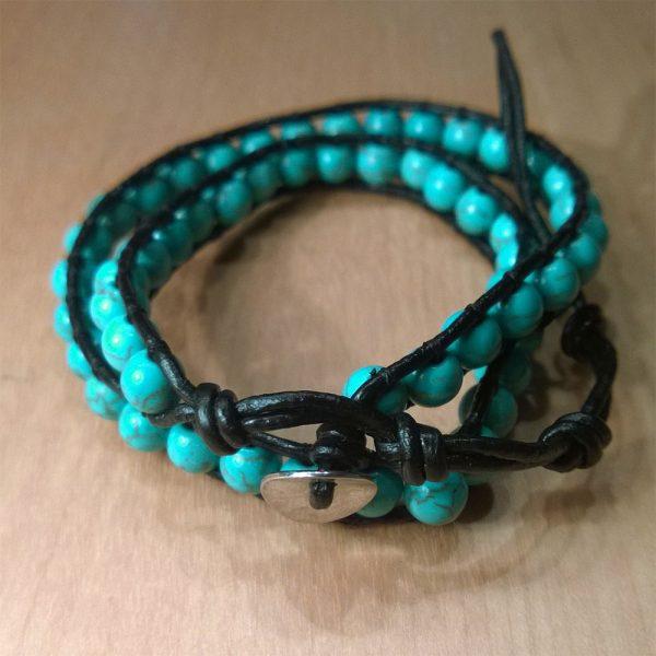 armband türkis perlen wickel