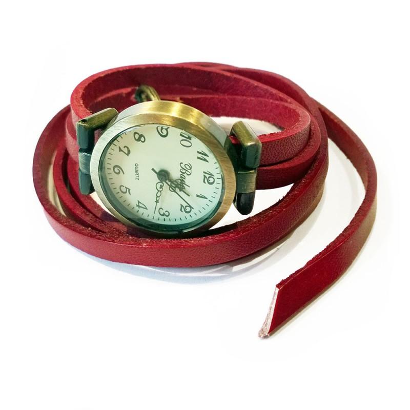 damen armbanduhr leder wickel rot retro
