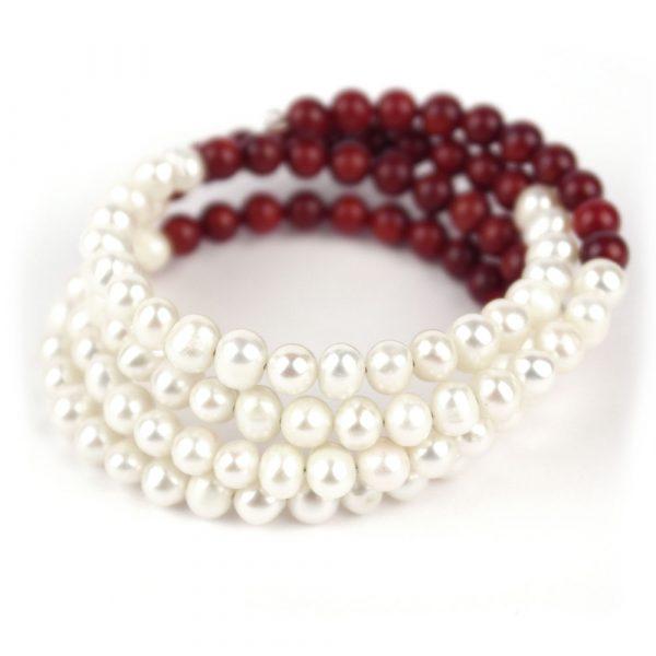 perlenarmband edel rot weiss süßwasserperlen damen