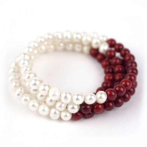 armband edel perlen rot weiss strang damen