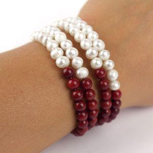 armband edel perlen rot weiss handgelenk damen