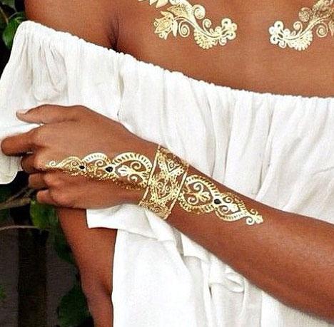 temporär tattoo gold silber