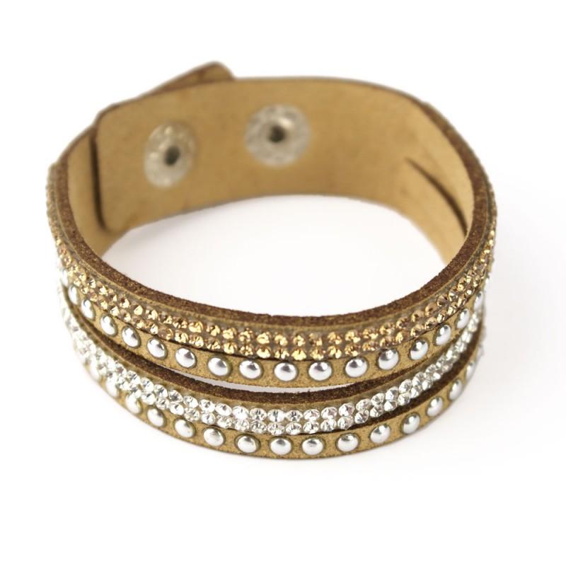 wildleder multi armband zirkonia gold silber glitzer damen
