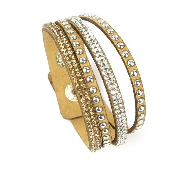 wildleder multi armband strass gold silber zirkonia