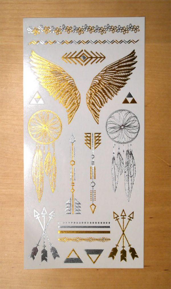 temporär tattoo gold silber fluegel