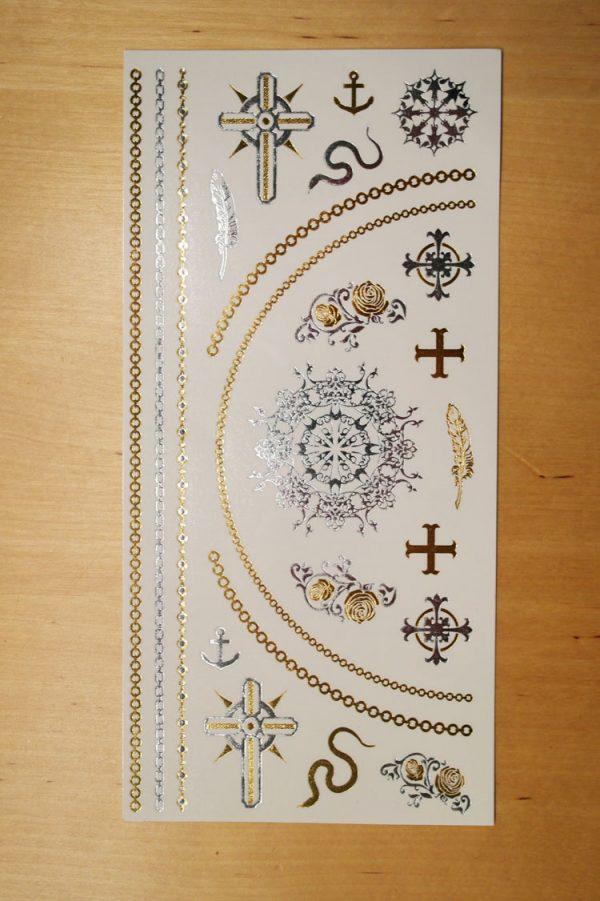 temporär tattoo gold silber kreuze