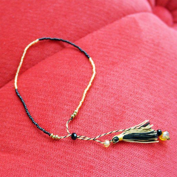 quastenarmband perlen gold schwarz edel rocailles zART