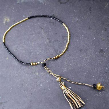 quaste armband zart edel gold schwarz glas damen fein