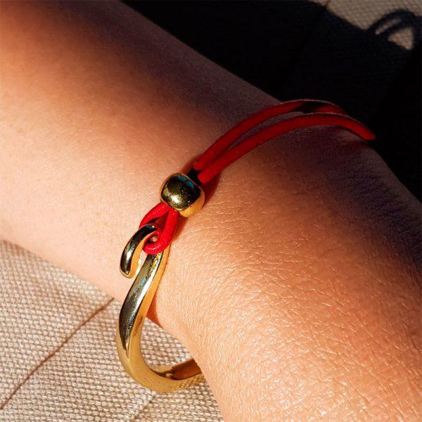 Gold Leder rot Armband