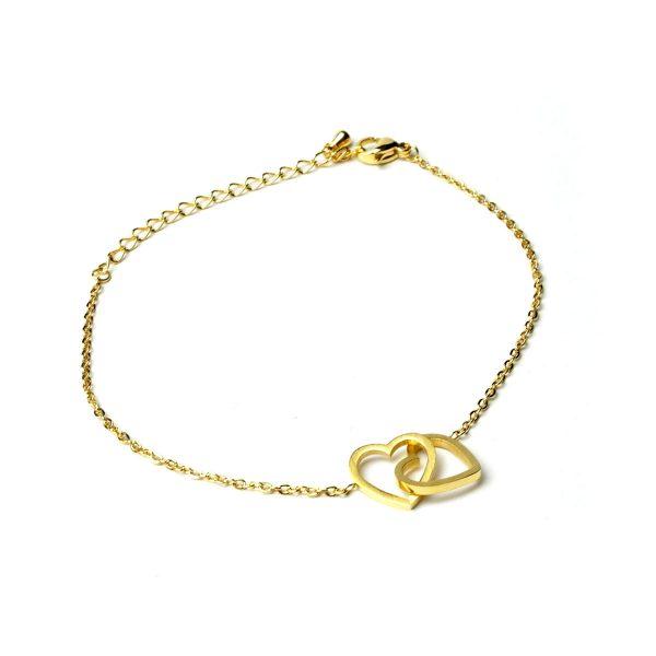 gold herzen verbunden liebe armband zart
