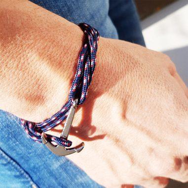 ankerarmband herren blau hand