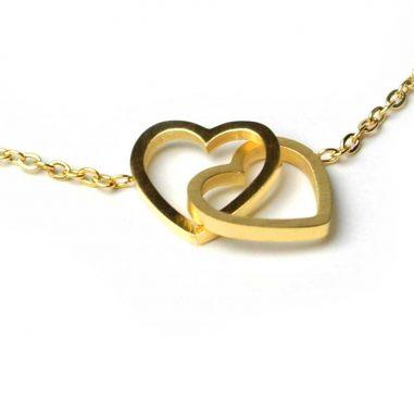 armband herzen gold detail glieder damen geschenk