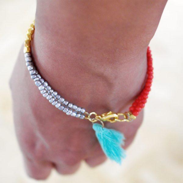 quaste rocailles armband türkis damen glasperlen