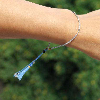 quaste rocailles blau armband zart