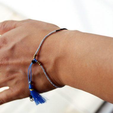 rocailles armband blau silber dünn