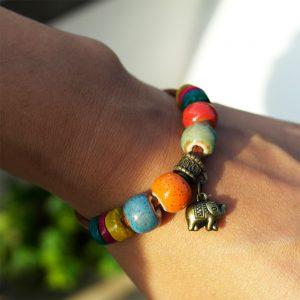 armband tibet elefant perlen bunt hippie