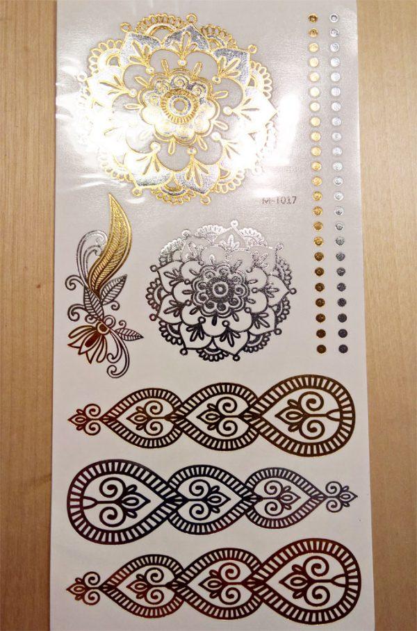 gold temporär tattoo ornamente handgelenk armband