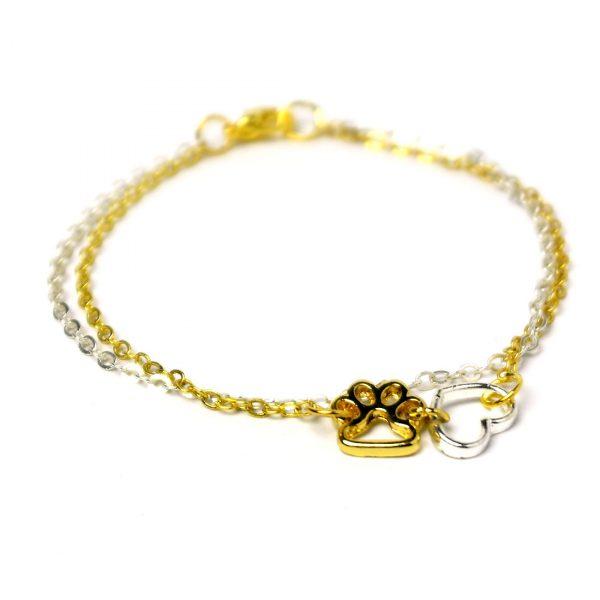 tierfreund armband pfote herz gold silber