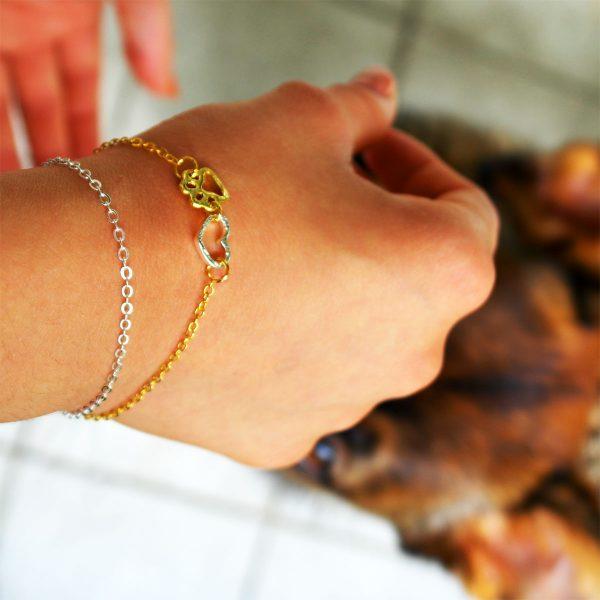 dein bester freund armband pfote silber gold gliederkette