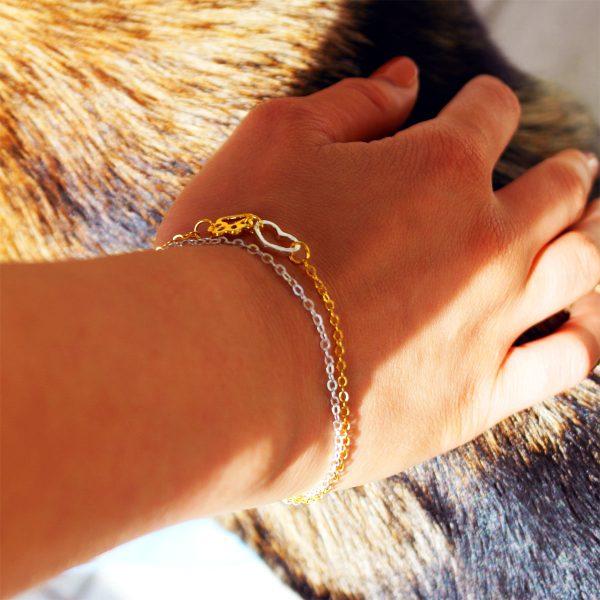 armband für hundefreunde silber und gold zart pfote