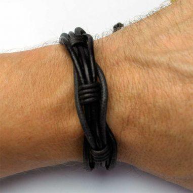 lederarmband stoff dunkelbraun