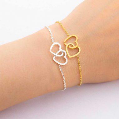 armband herzen gold silber