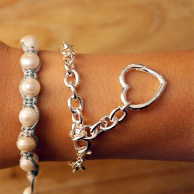 damen armband herz silber 925 kombination 23cm