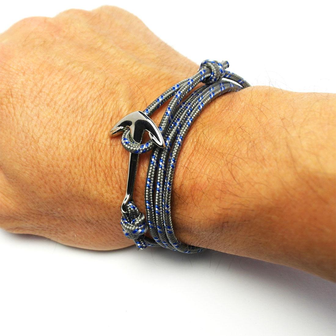 herren anker armband mit grauem band armband onlineshop. Black Bedroom Furniture Sets. Home Design Ideas