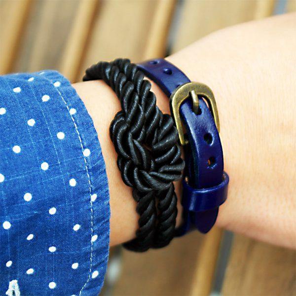 kordel knoten armband damen schwarz