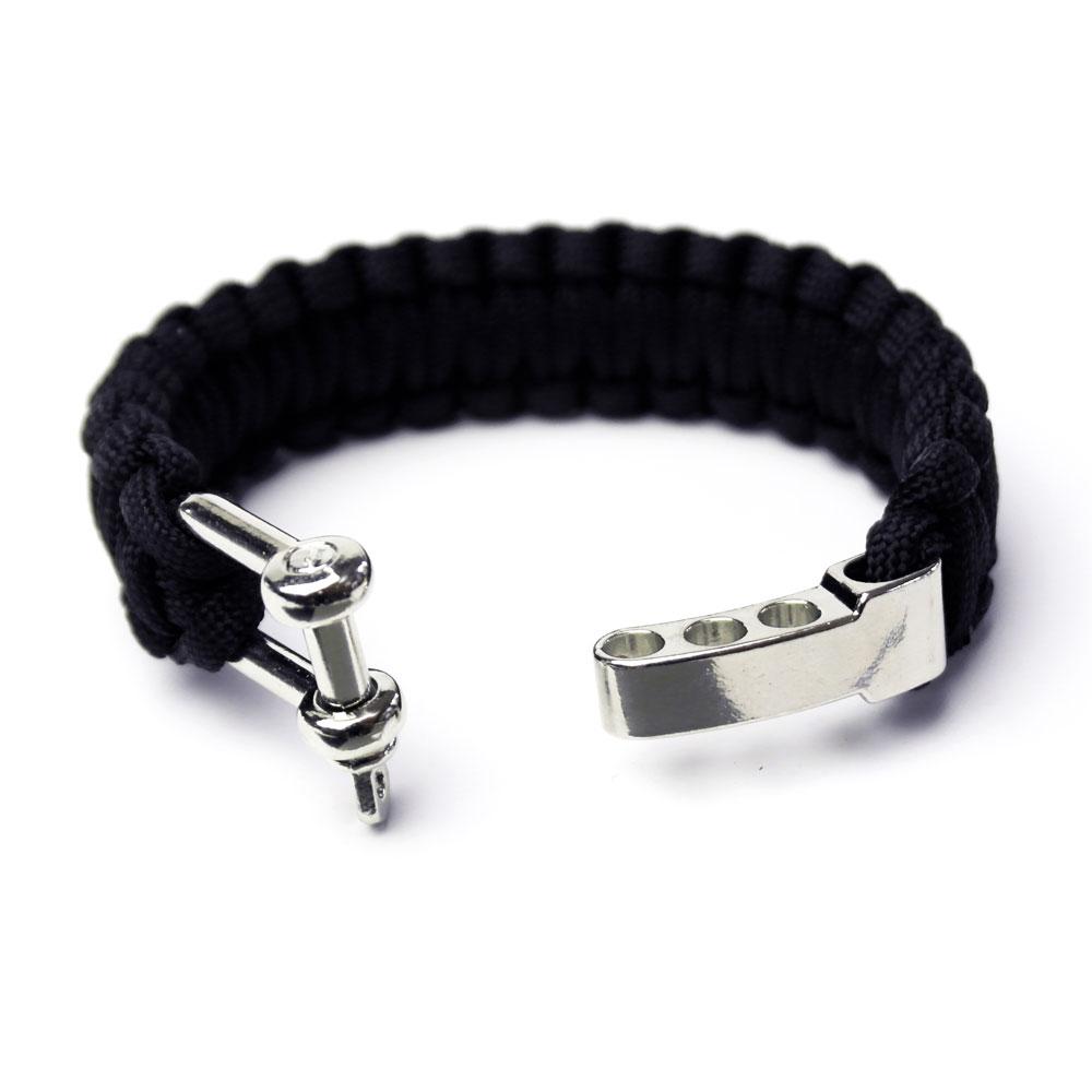 paracord armband schwarz mit sch kel f r m nner outdoor armband onlineshop. Black Bedroom Furniture Sets. Home Design Ideas