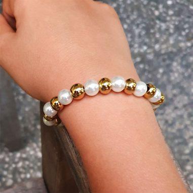 armband perlen edelstahl gold elastisch damen unisize
