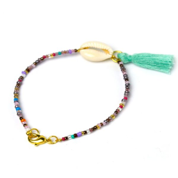 rocailles-perlen-armband bunt quaste tuerkis muschel