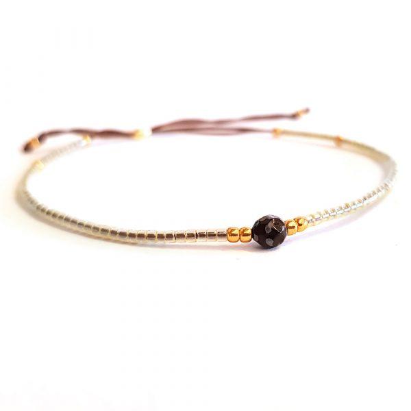 rocailles armband mini glasperlen weiß gold dünn