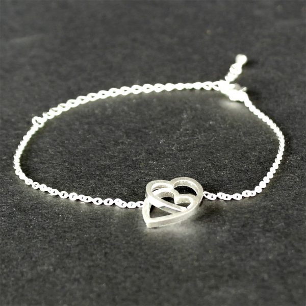 armband verliebte silber herzen verbunden 2