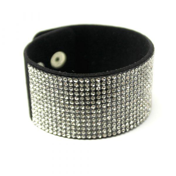 breites zirkonia strass glitzer armband