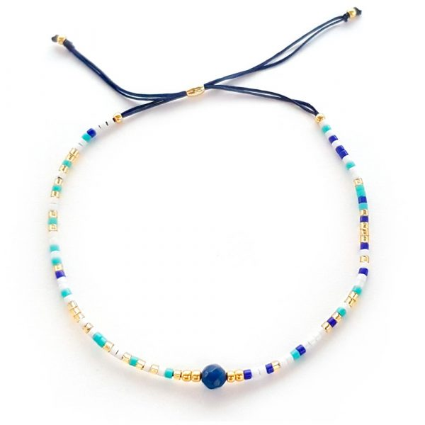 blau gold rocailles handgemacht armband