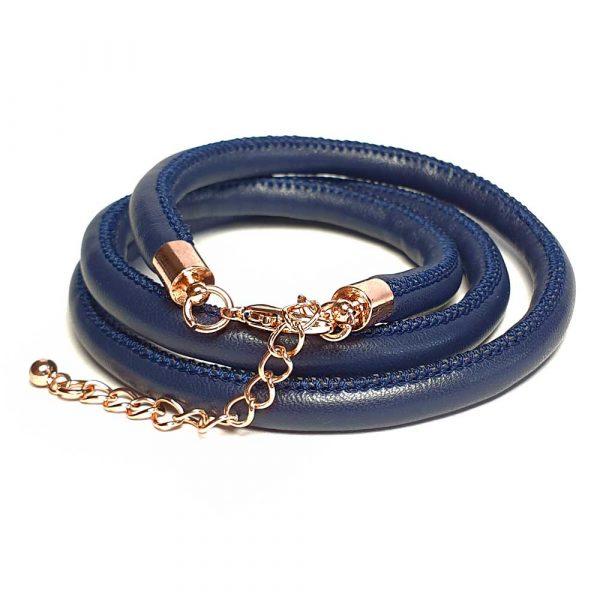 leder armband blau rosegold