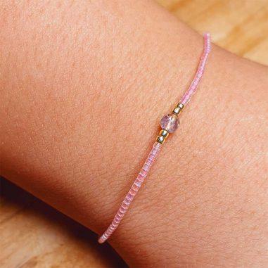 rosa-quarz miyuki armband zart