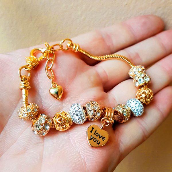 charms armband gold hand