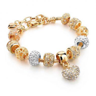 charms beads bettelarmband gold zirkon herz