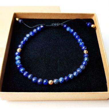 damen armband lapis naturstein blau gold
