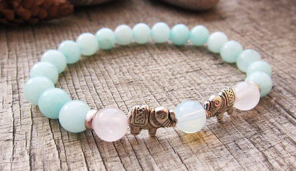 frauen perlenarmband amazonit rosen opal 1