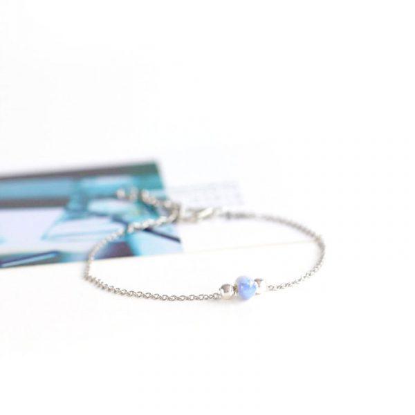 silber armband keramik perle blau