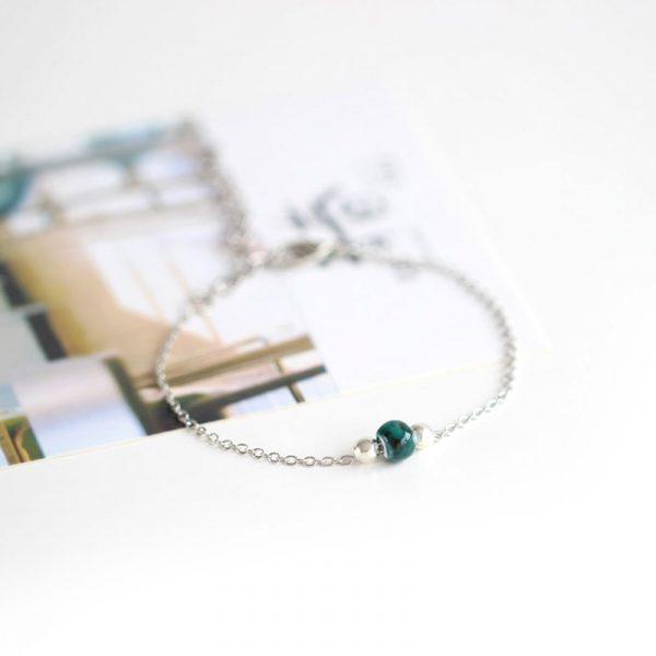 silber armband keramik perle gruen galaxy