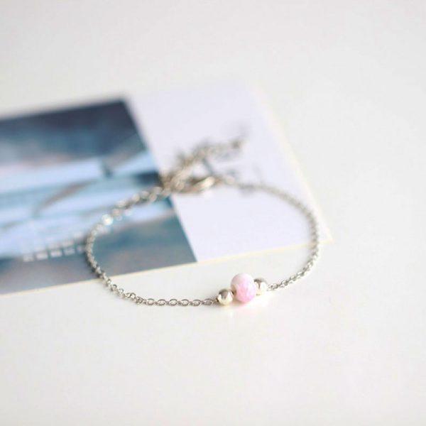 silber armband keramik perle rosa