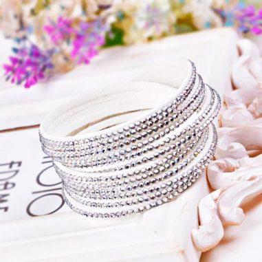 stoff strass armband weiss silber